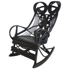 Amazing 19th c. Original Black Painted Bentwood Rocking Chair