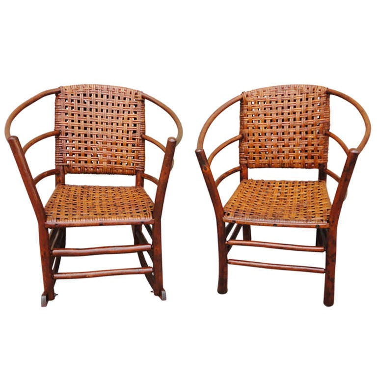 ... of Signed Old Hickory Barrel Back Rocker and Side Chair at 1stdibs