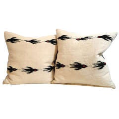 Navajo Indian Pair of Weaving Pillows - Birds in Flight