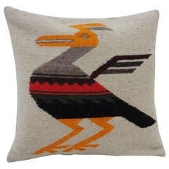 Navajo Indian  Weaving Colorful Roadunner  Pillow lll