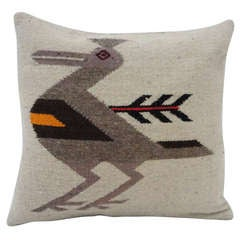 Navajo Indian Weaving Road Runner Pillow lll