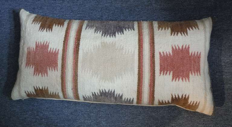 American Large Navajo Indian Weaving Bolster Pillow For Sale