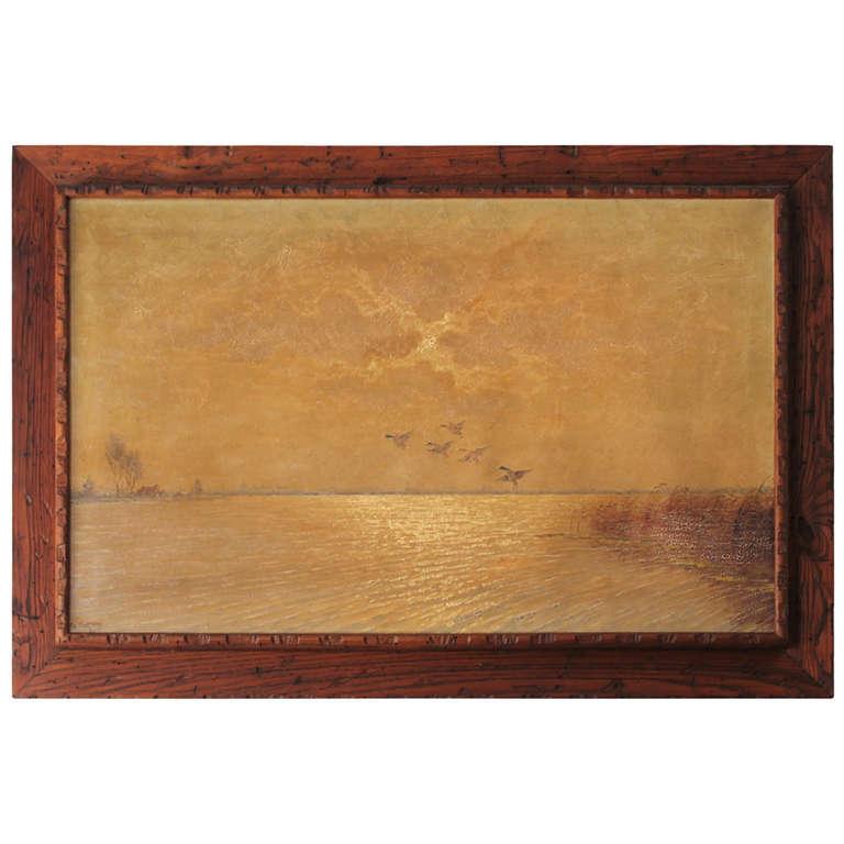 Ducks in Flight Original Wood Framed Oil Painting