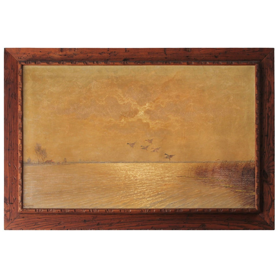 Ducks in Flight Original Wood Framed Oil Painting