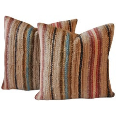 Pair of 19th Century Country Rag Rug Pillows