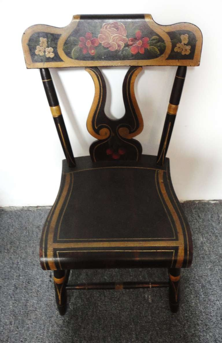 Wood Fantastic 19thc Original Paint Decorated Chairs From Pennsylvania For Sale