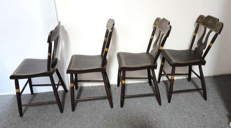 Country Fantastic 19thc Original Paint Decorated Chairs From Pennsylvania For Sale