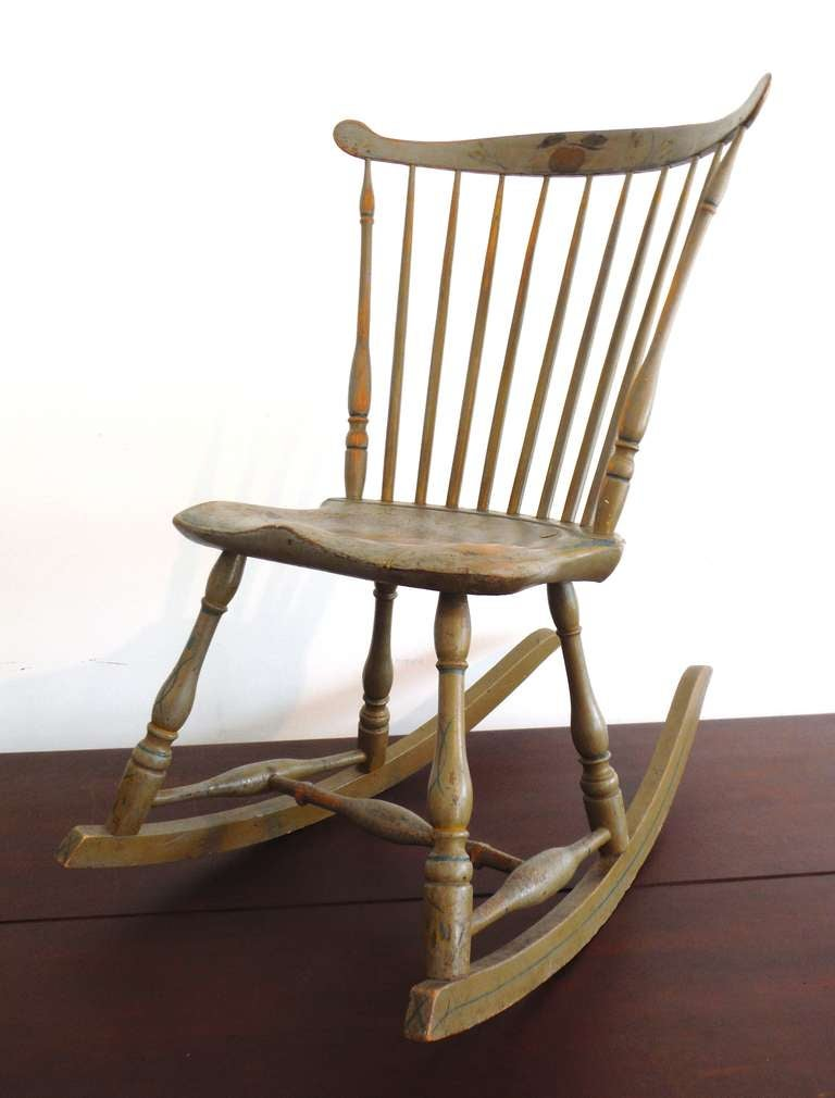 Super 19Thc Original Painted Sage Green Windsor Rocking Chair Inzonedesignstudio Interior Chair Design Inzonedesignstudiocom