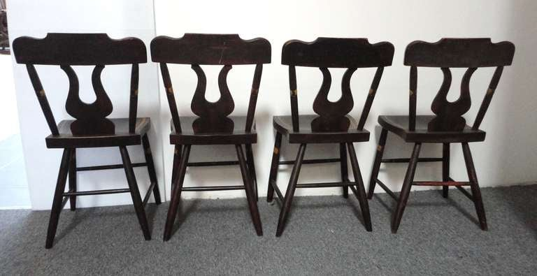American Fantastic 19thc Original Paint Decorated Chairs From Pennsylvania For Sale