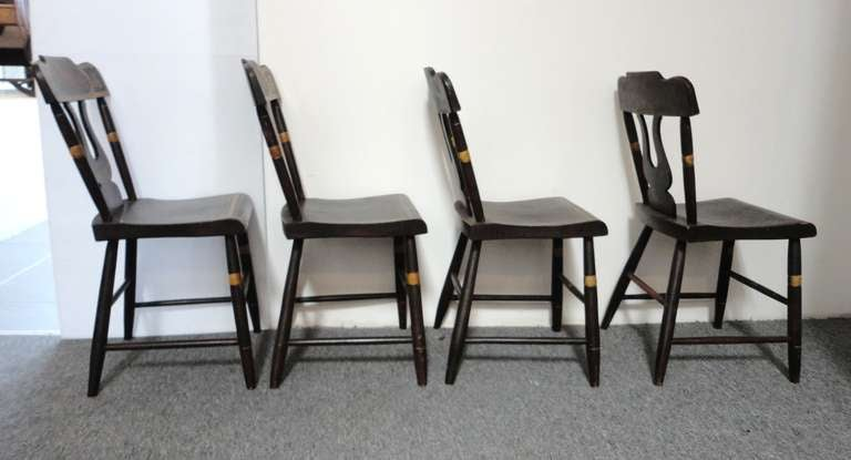 Hand-Painted Fantastic 19thc Original Paint Decorated Chairs From Pennsylvania For Sale