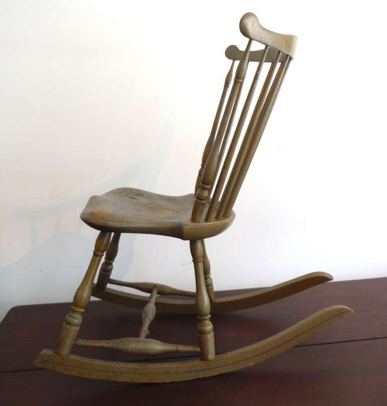 19thc Original Painted Sage Green Windsor Rocking Chair