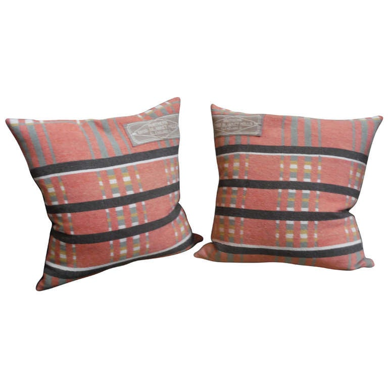 Pair of 19th Century Northern Ohio Blanket Mills Horse Blanket Pillows
