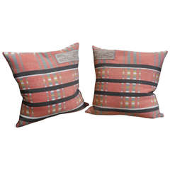 Pair of 19th Century Northern Ohio Blanket Mills Horse Blanket Pillows