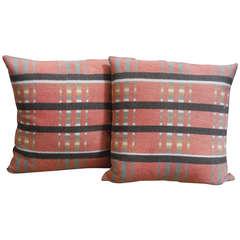 Pair of 19th Century Northern Ohio Blanket Mills Blanket Pillows