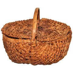 19th Century Splint Oak Pennsylvania Lidded Buttocks Basket