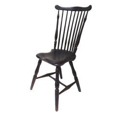 Fantastischer Windsor-Stuhl mit schwarzer Originalfarbe, Neuengland