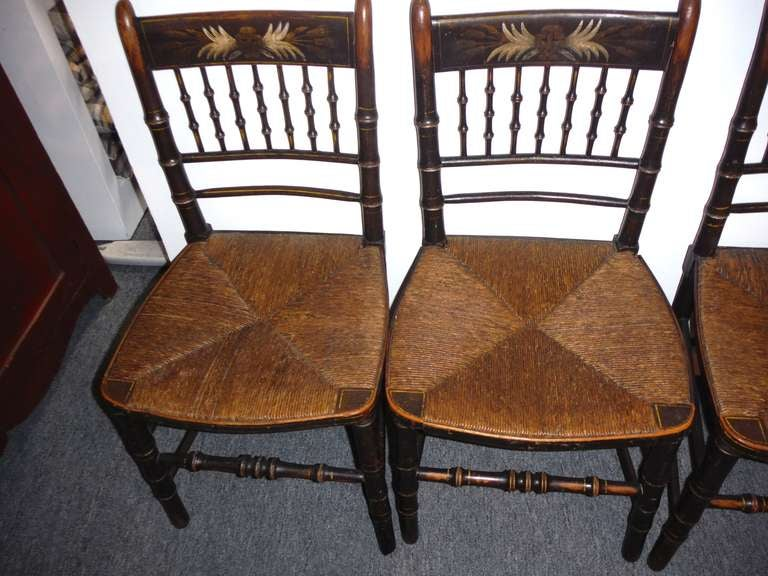 Set Of Four 19thc Original Paint Decorated Hitchcock Chairs W Orig Rush Sea