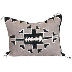 Navajo Indian Two Grey Hills Hand Woven Bolster Pillow