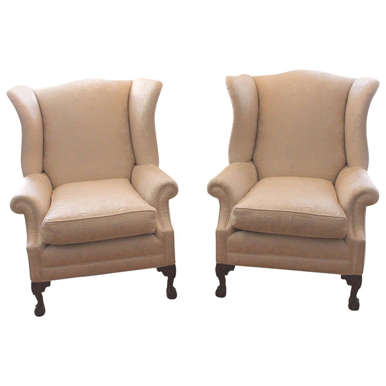 Pair Of Monumental Damask Wing Chairs For Sale