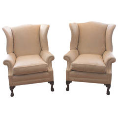 Pair of Monumental Damask Wing Chairs