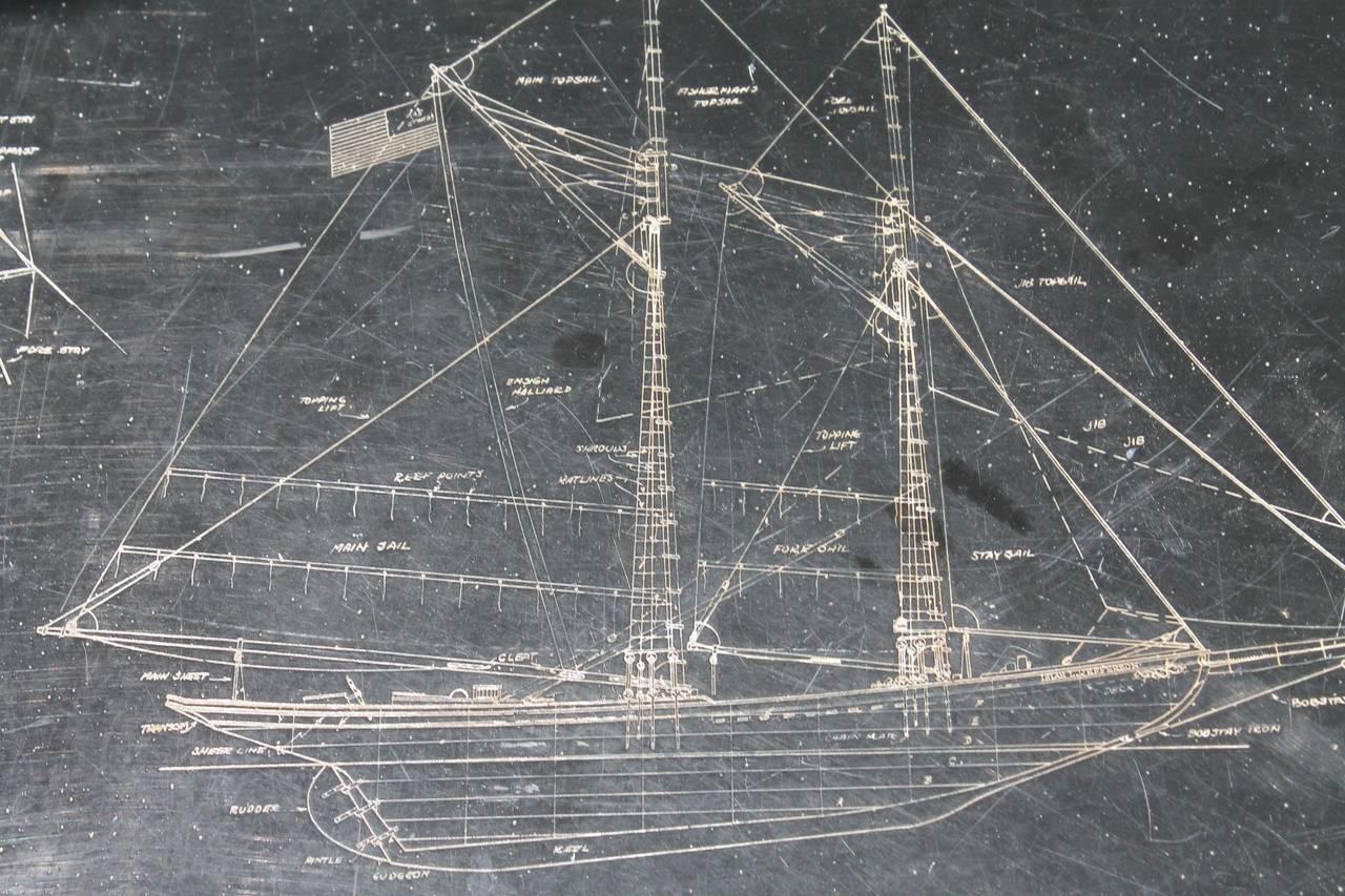 Unusual Isiah L Jefferson Fisherman Ship Diagram On Slate