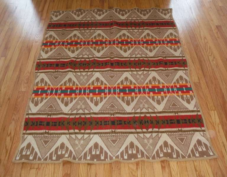 Early Wool Pendleton Cayuse Indian Design Camp Blanket At