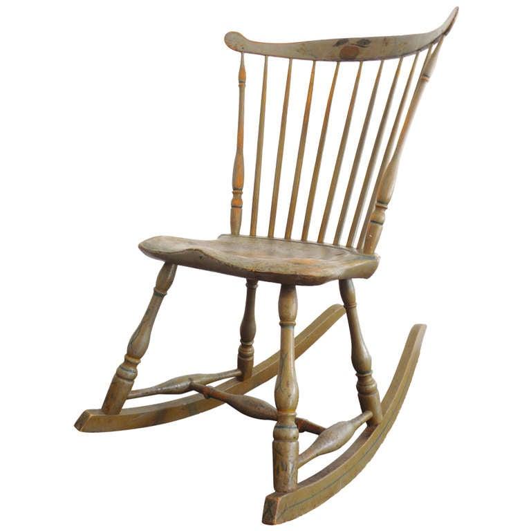 19thc Original Painted Sage Green Windsor Rocking Chair 1