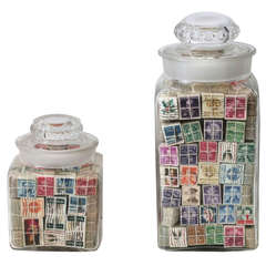 Vintage Postage Stamp Collection in Cut Glass Soda Fountain Jars