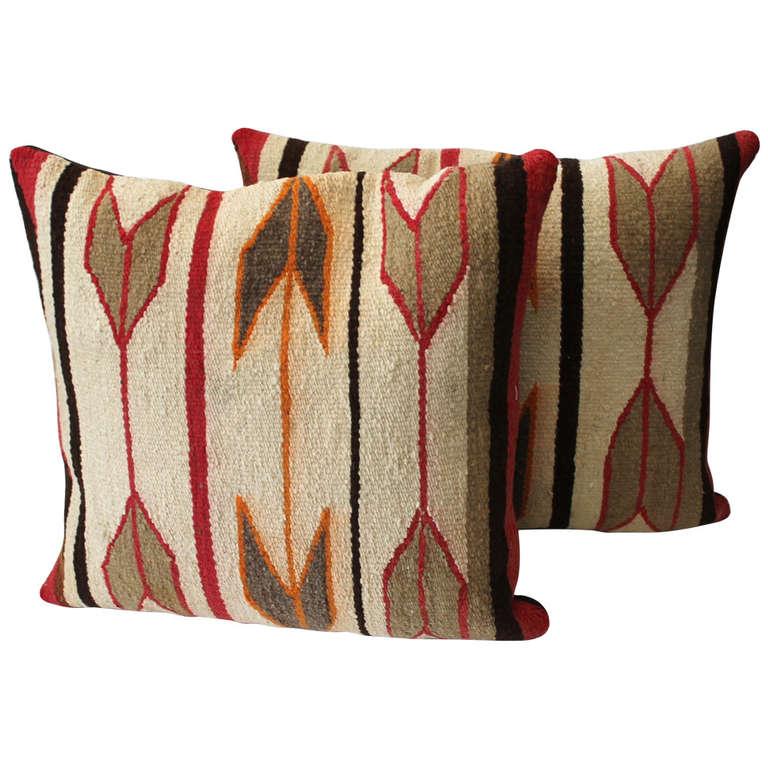 Pair Of Navajo Indian Arrow Motif Crystal Woven Pillows At