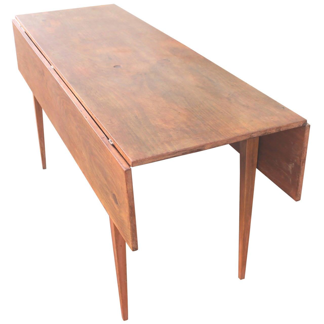 19th Century Original Salmon Painted Farm Table