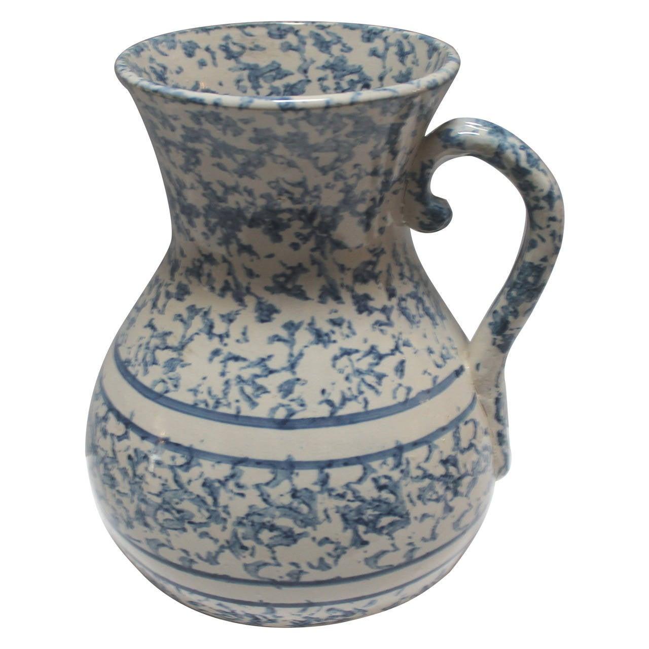 19th Century Monumental Sponge Ware Pottery Pitcher
