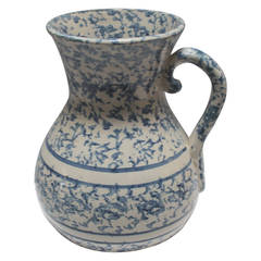19th Century Monumental Sponge Ware Pottery Pitcher
