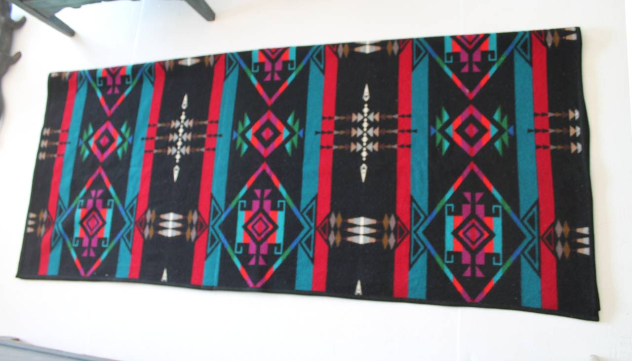 Pendleton Indian Design Camp Blanket Black Ground At 1stdibs