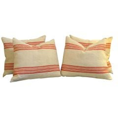 19th Century Striped Linen Pillows