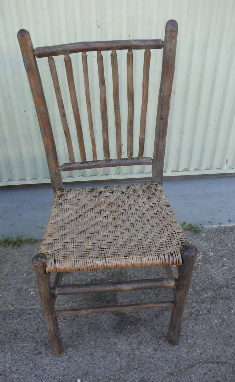 Superior Signed Old Hickory Original Grey Painted Hickory Chairs In Excellent  Condition For Sale In Los Angeles
