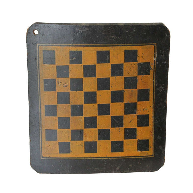 19th Century Original Painted Checkers Game Board
