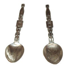"PAIR OF STERLING SILVER ""INDIAN TOTEM POLE"" SPOONS/SEATTLE,WASH."