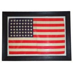 FRAMED 48 STAR SILK FLAG IN ANTIQUE FRAME