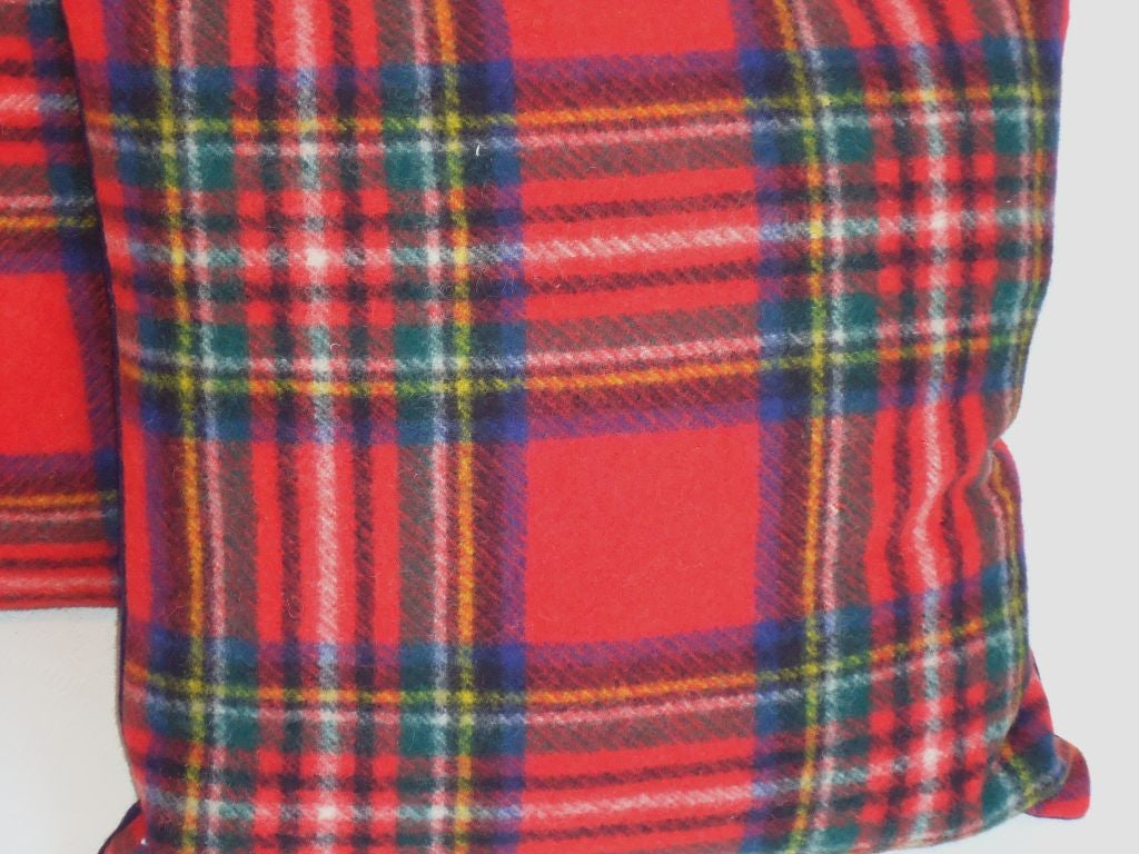 1940 S Scottish Plaid Wool Blanket Pillows W Blue Blanket