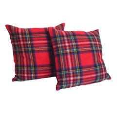 1940'S SCOTTISH PLAID WOOL  BLANKET PILLOWS W/ BLUE BLANKET BACK