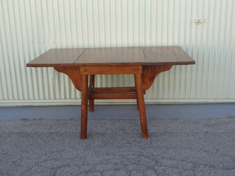 Signed Rittenhouse Furniture Rustic Drop Leaf Dining Table