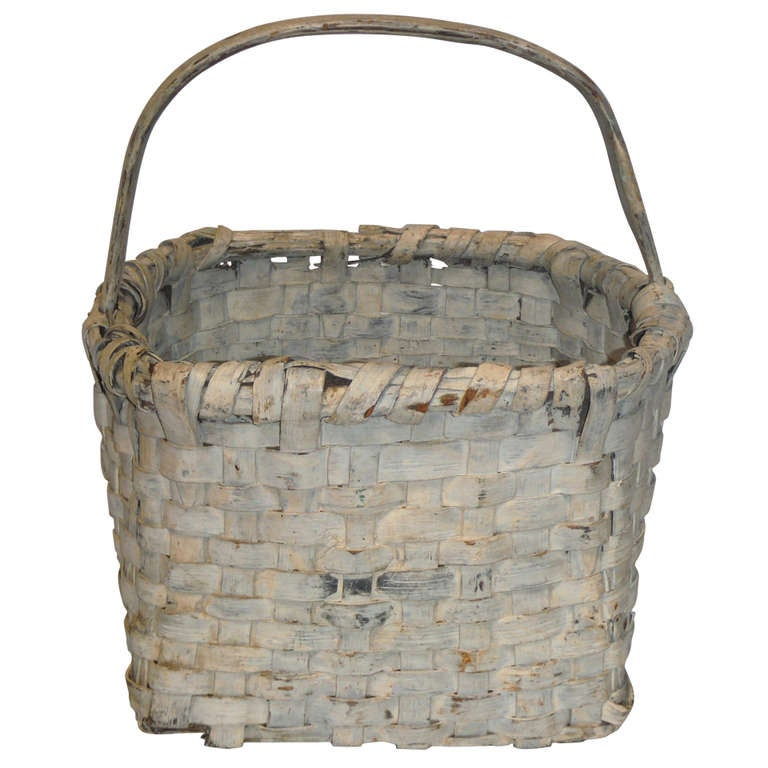 19th Century Original Cream Painted Handmade Basket from New England For Sale