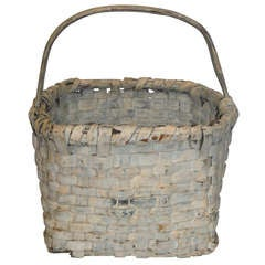 19th Century Original Cream Painted Handmade Basket from New England