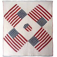 Rare and Unusual Early 1900s Floating Flags Quilt