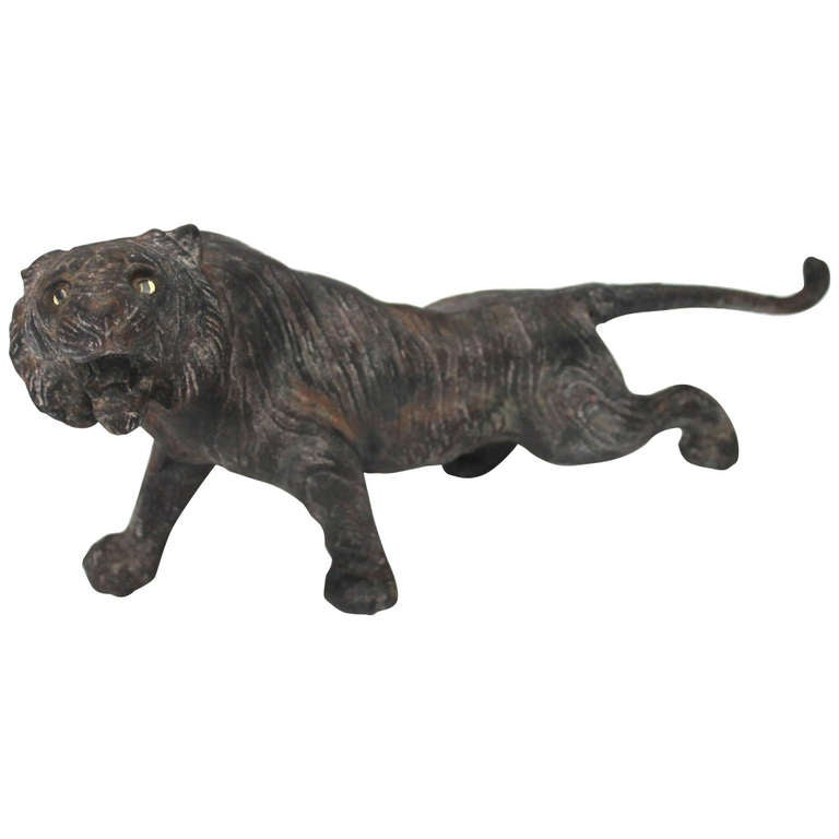 Rare 19th Century Iron Tiger Door Stop With Glass Eyes For
