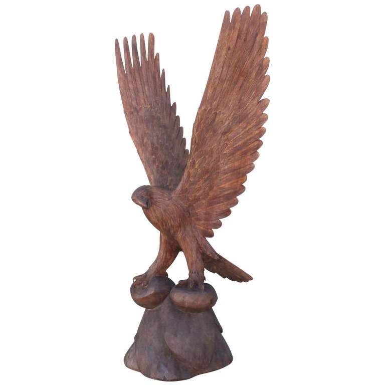 Monumental Hand Carved Mid Century American  Eagle For Sale