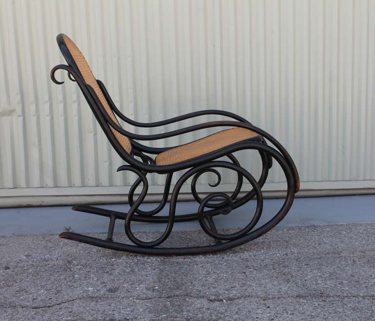 fantastic signed thonet bentwood rocking chair at 1stdibs