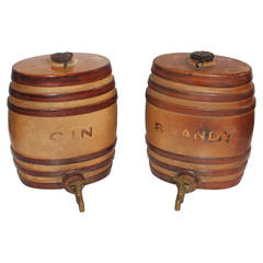 Pair of 19th Century Pottery Gin and Brandy Kegs with Original Brass Spigot
