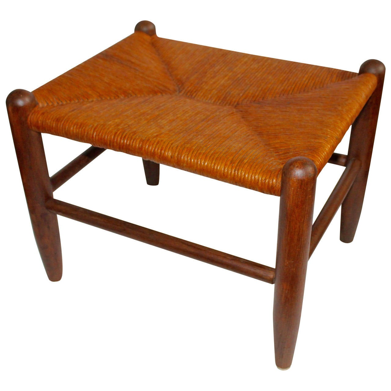 Early 20th Century Handmade Stool With Woven Rattan Seat
