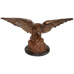 Monumental 19th Century Cast Iron Eagle on Wood Mount